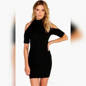 [Boohoo] Liv Open Shoulder Black Bodycon Dress